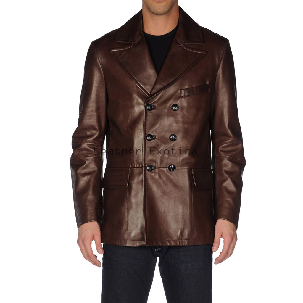 Blazers Jackets Mens: Men Double Breasted Leather Blazer