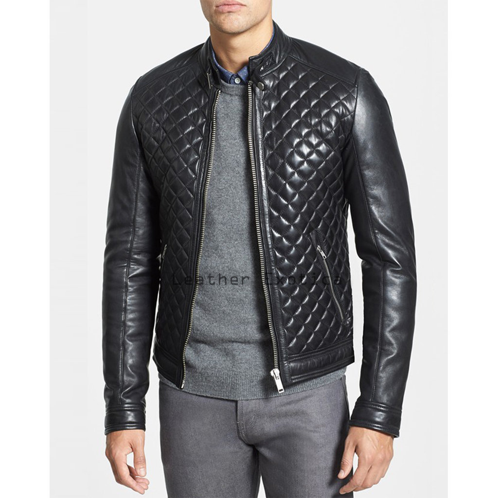 Buy Online Men Lamb Leather Jacket Chic Style Men Leather Quilted