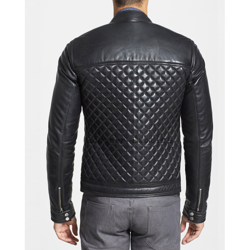 Quilted Style Men Lamb Leather Jacket Leatherexotica