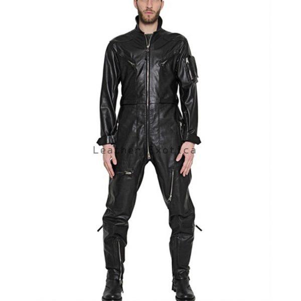 Online Men Leather Tough Look Jumpsuit Men Leather