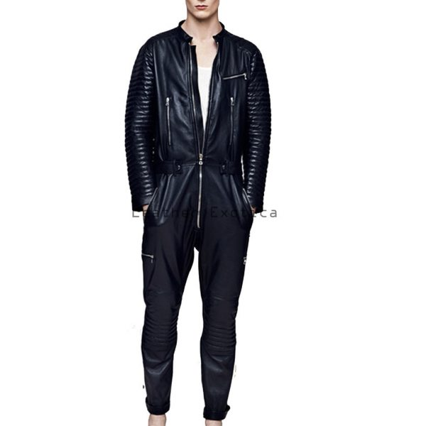 buy online men trendy sleeves leather jumpsuit full