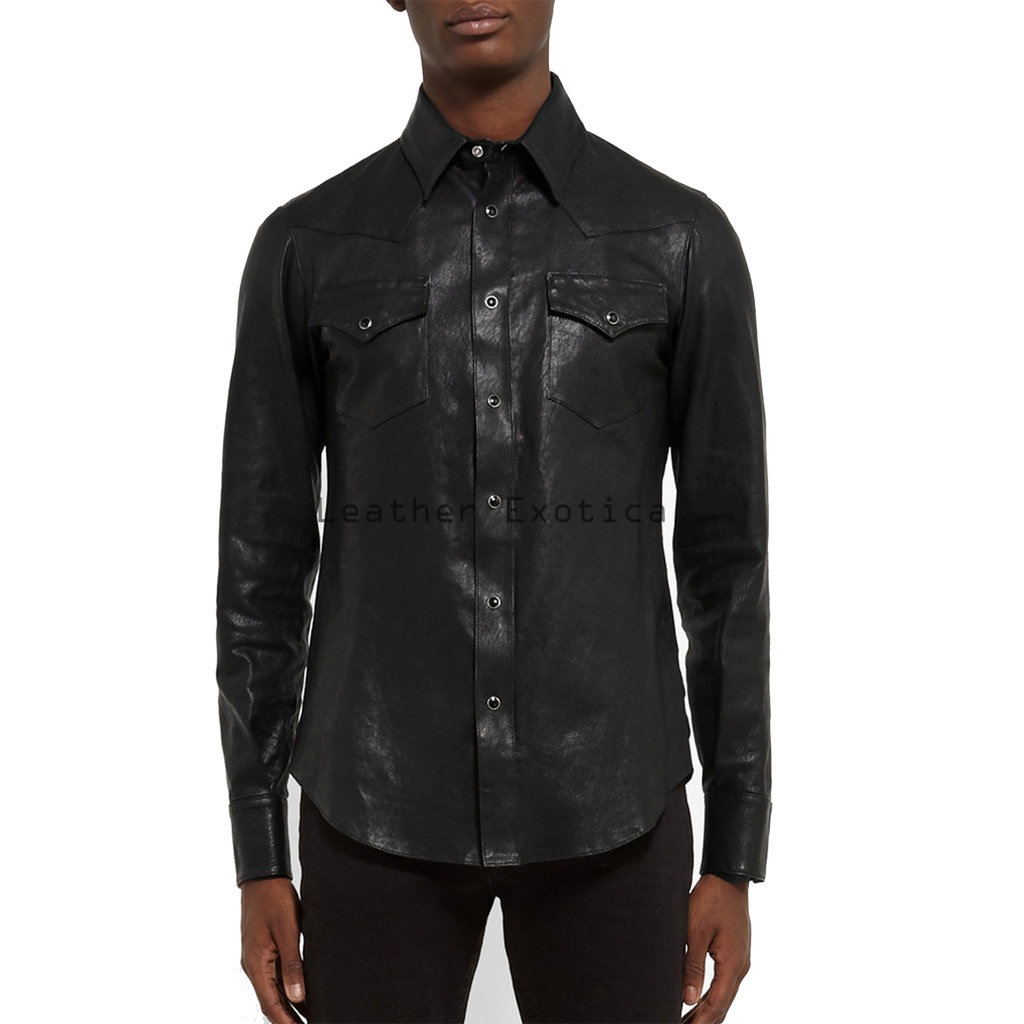 Online Men Leather Elegant Shirt Specially Designed Men