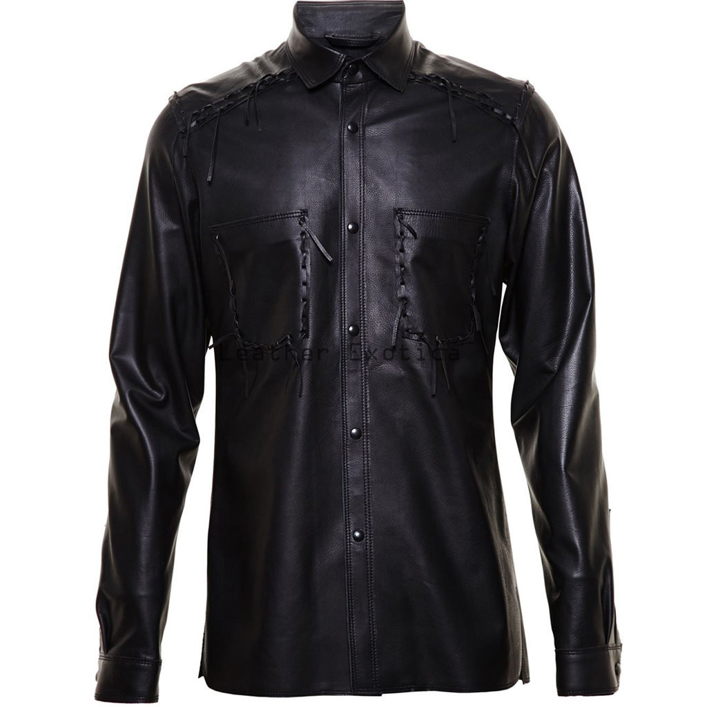 Online men leather corporate style shirt men lamb for Mens shirts with leather
