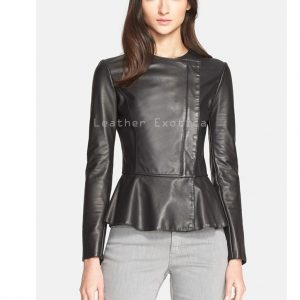 c2437638f208fe Peplum Style Women Long Sleeves Leather Top