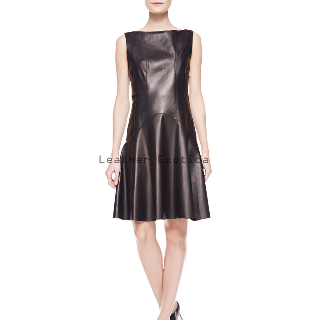 Lace Back Panel Women Leather Dress Leatherexotica