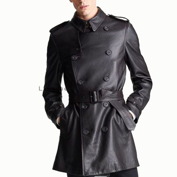 Buy Men Leather Double Breasted Coat | Online Men Leather Trench Coat
