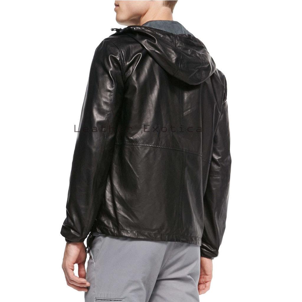 Buy Hooded Men Leather Jacket | Stylish Men leather Hooded Jacket