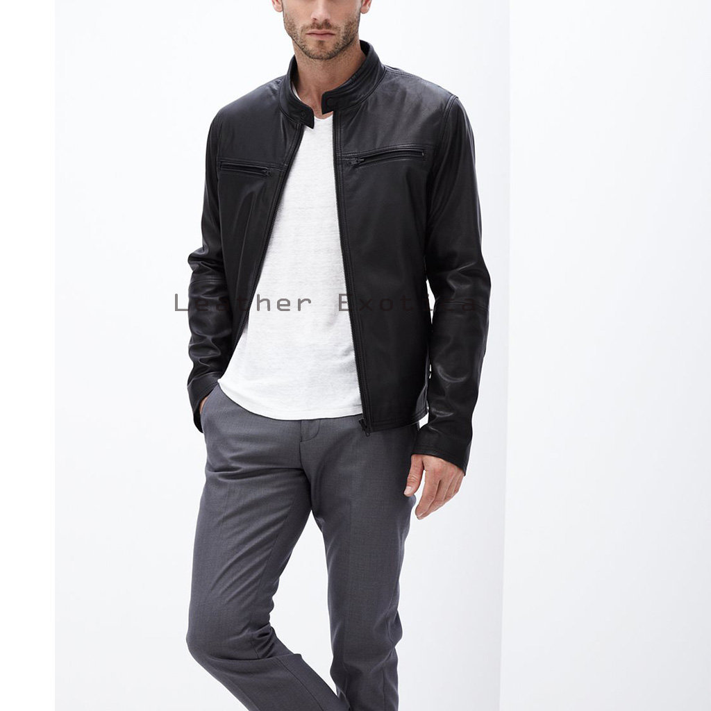 Men Leather Classic Jacket | Online Men Leather Simple Jacket