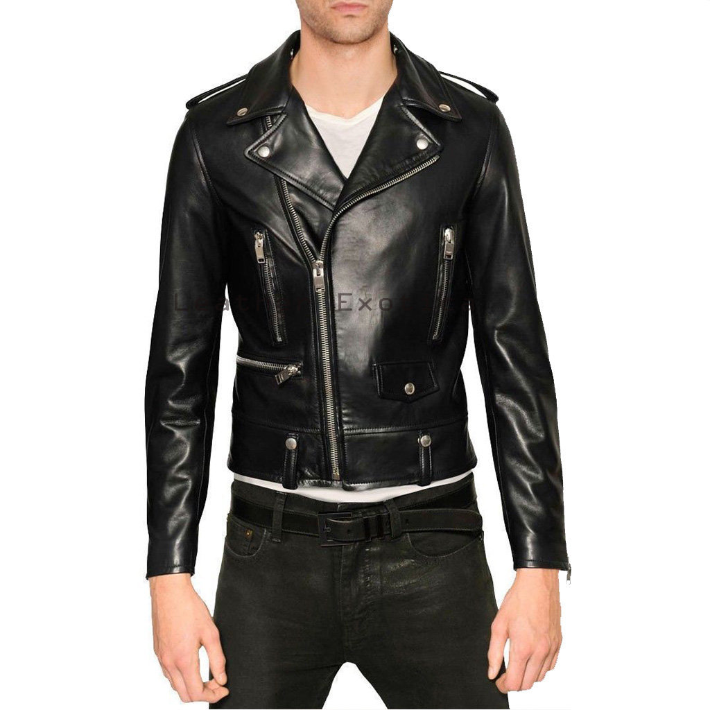 Leather Motorcycle Jacket Men - Jacket