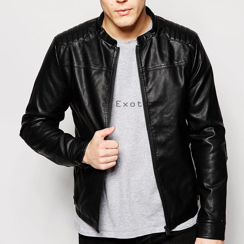 Unique Men Leather Biker Jacket & Online Men Leather Panel Jacket | Stylish Men Leather Panel Jacket