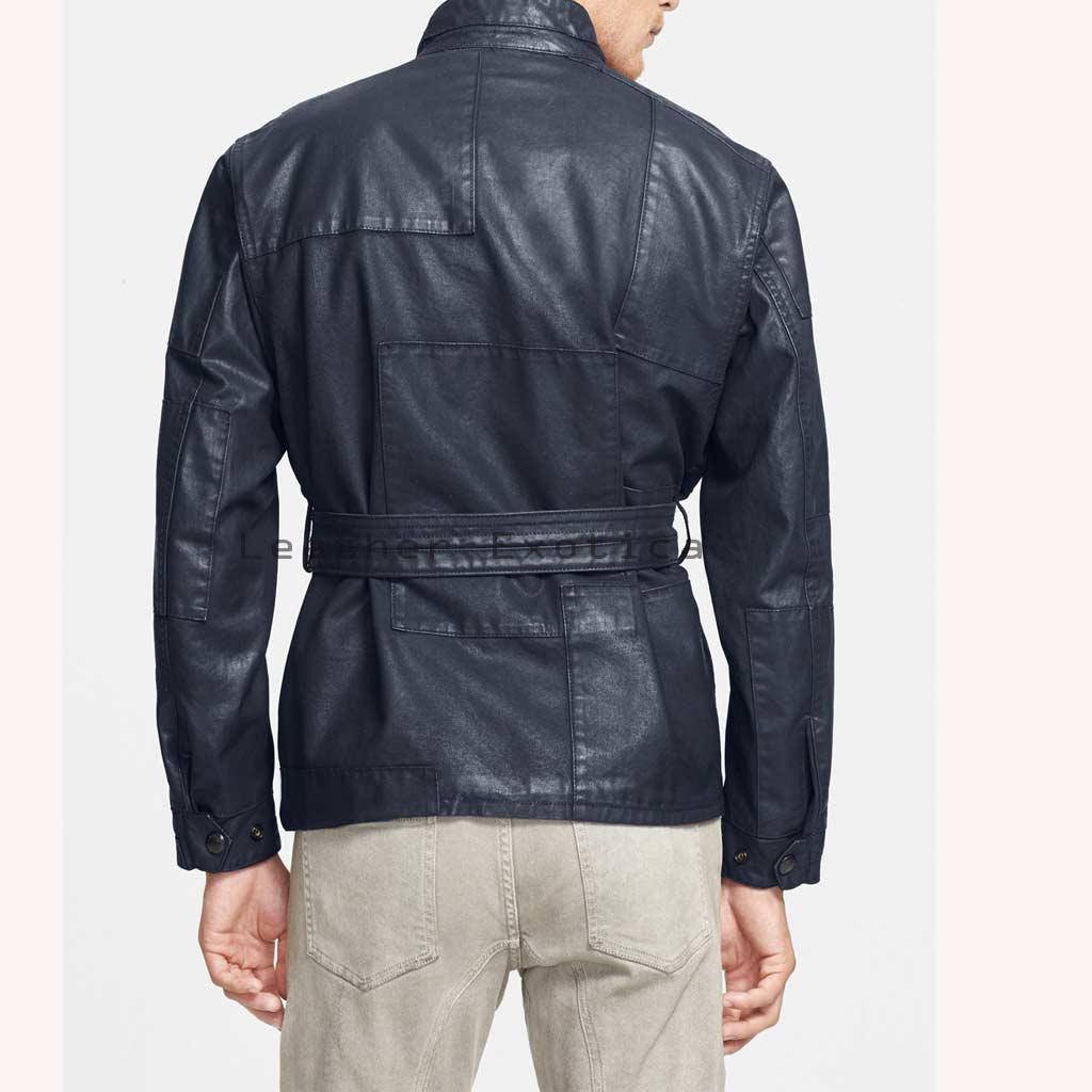 Online Men Leather Military Coat | Belted Men Leather Military Coat