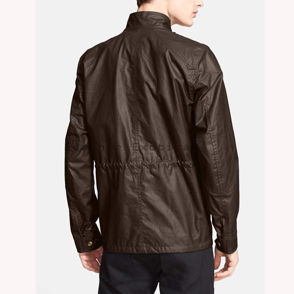 Buy Men Leather Military Coat | Paneled Leather Military Coat Online