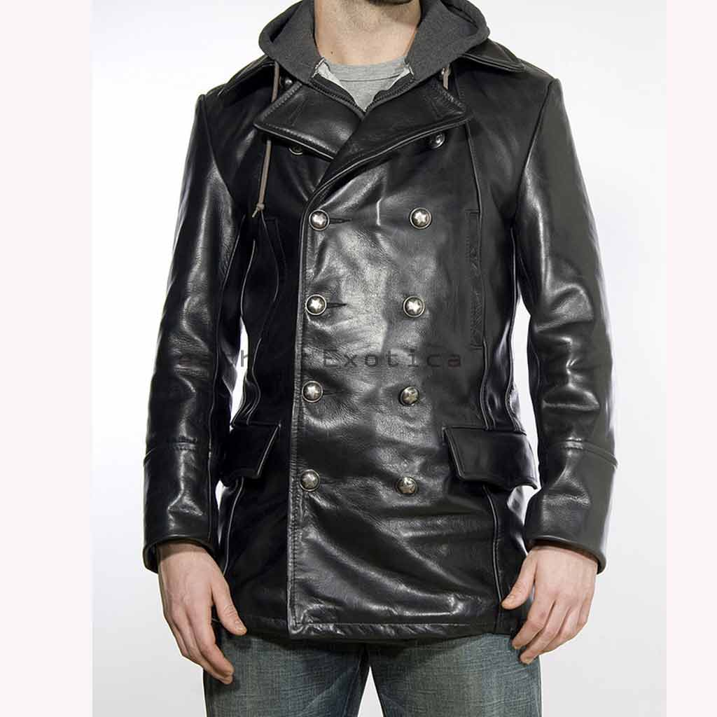 Buy Double Breasted Men Leather Coat | Military Style Leather Coat