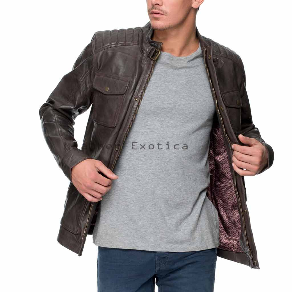 Online Men Leather Trendy Military Jacket | Unique Men Designer ...