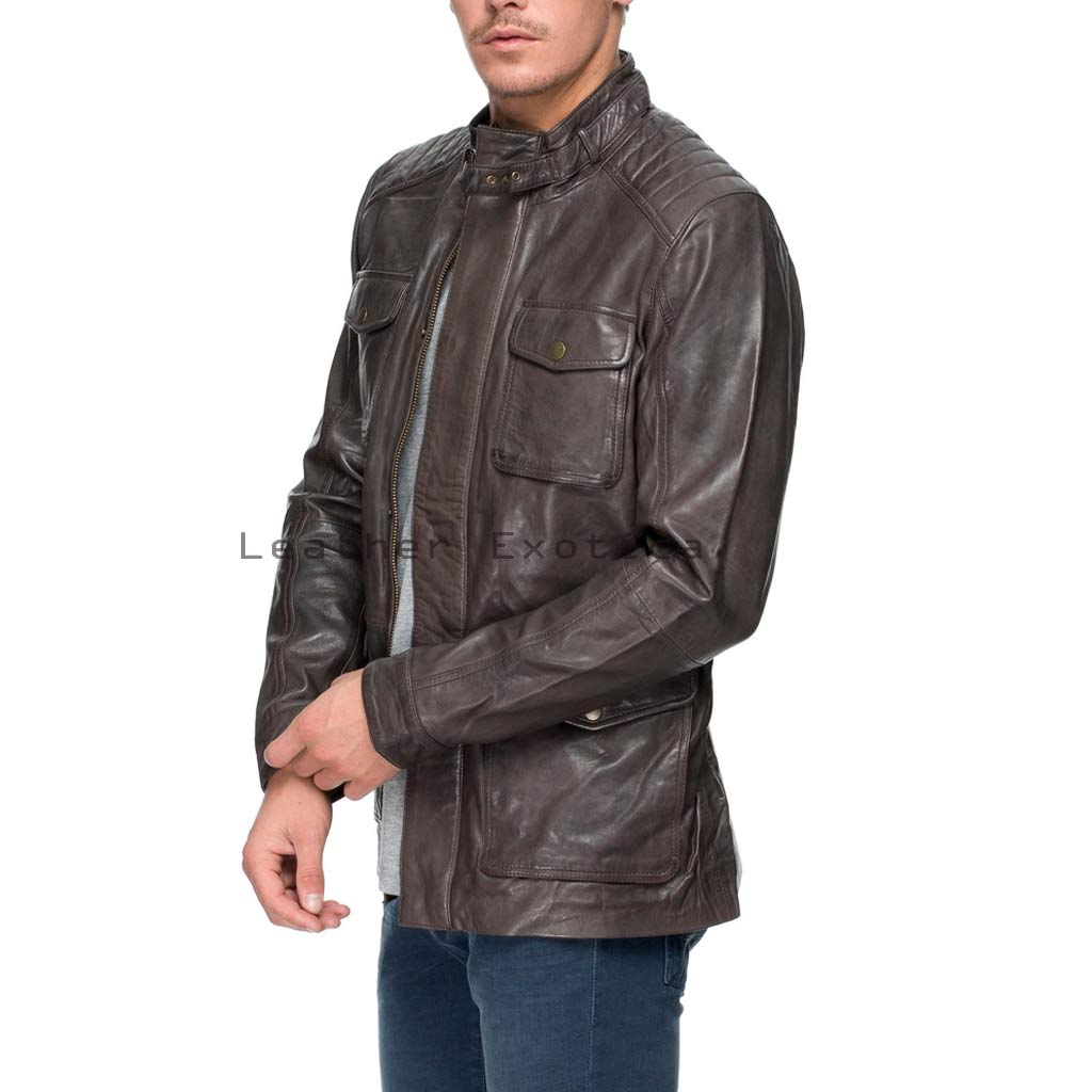 Tough Look Men Military Leather Jacket Leatherexotica