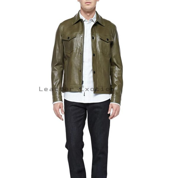 Lime Green Leather Jacket - Jacket