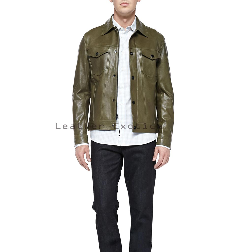 Online Men Leather Green Leather Bomber | Buy Leather Green Bomber ...