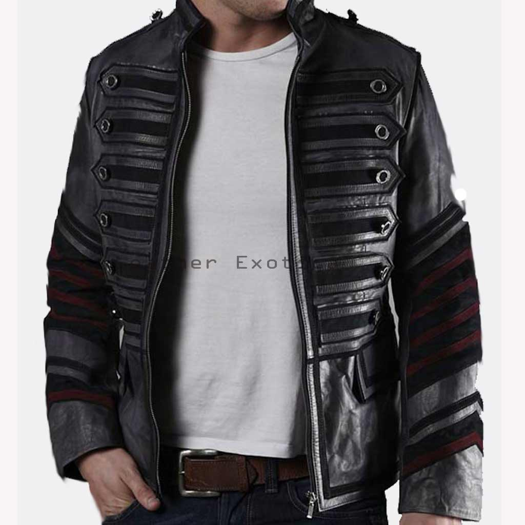 Men Leather Military Jacket | Online Men Leather Designer Jacket