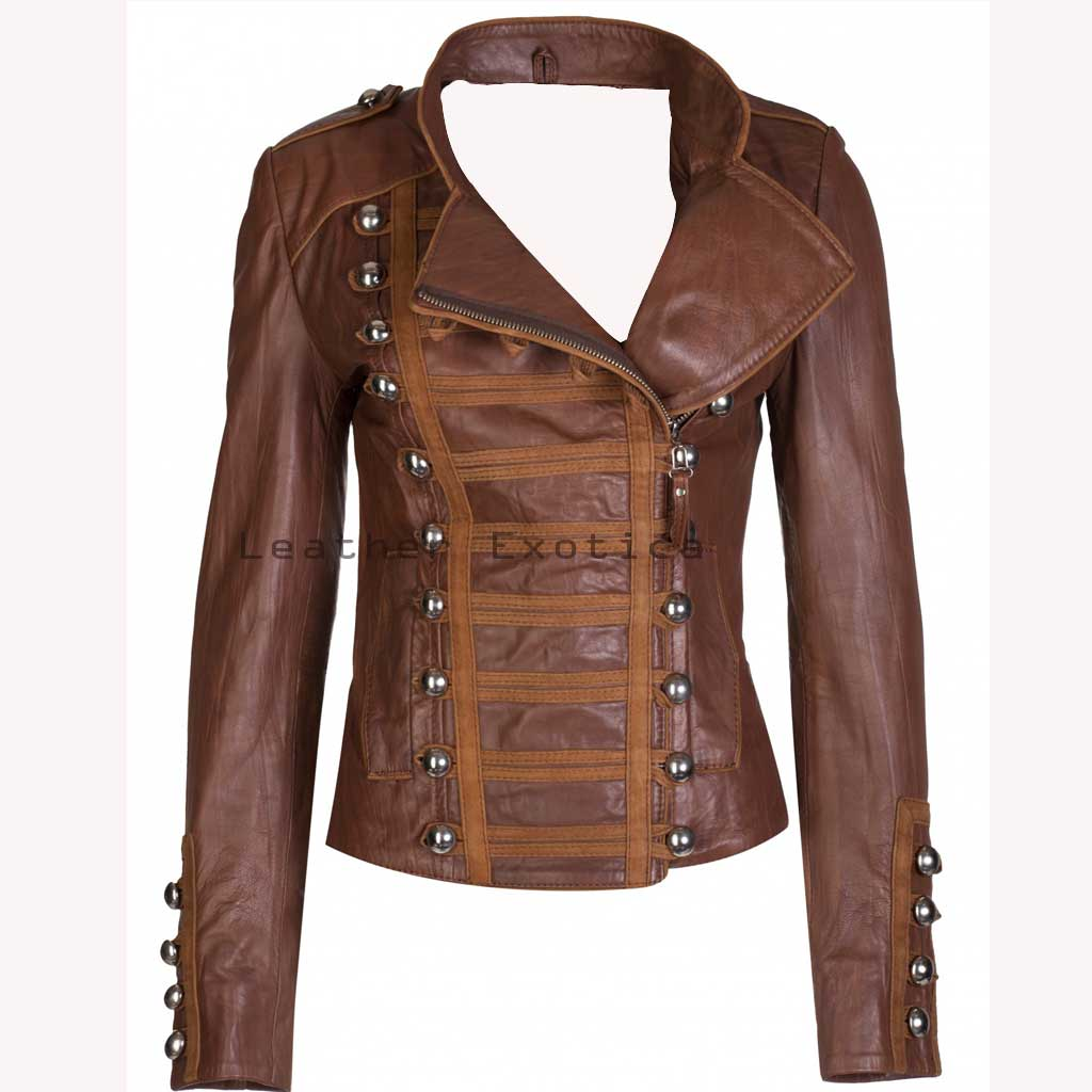 Online Women Leather Military Jacket | Women Leather Military Jacket