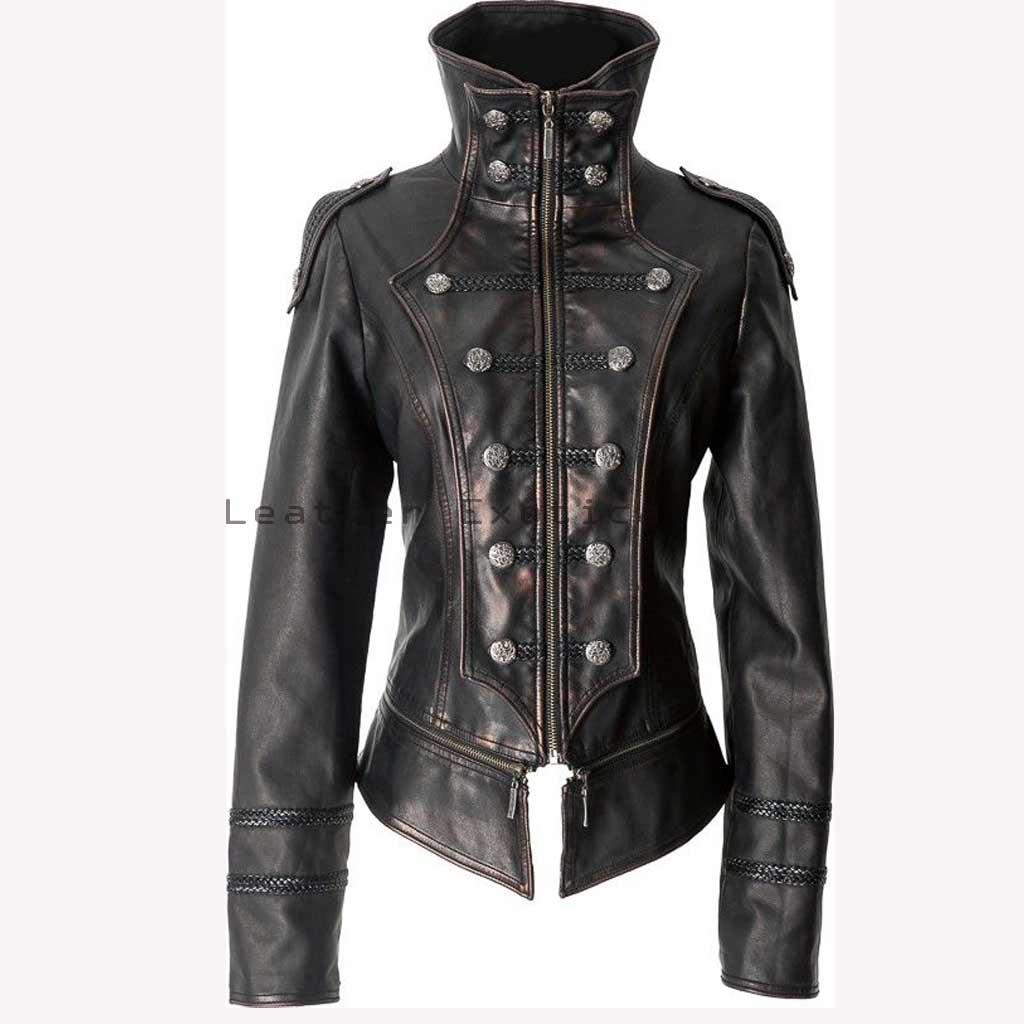 wide range search for original new season Premium Leather Women Military Jacket