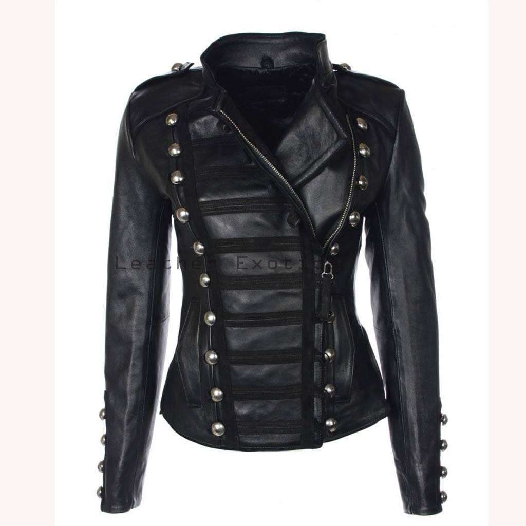 Online Women Leather Military Jacket | Designer Style Women ...