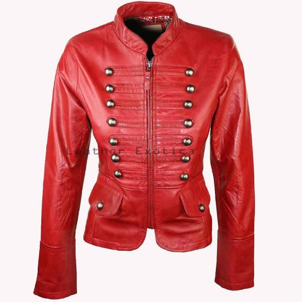 d833605e39c ... Women Leather Military Jacket. LEWMJ-006