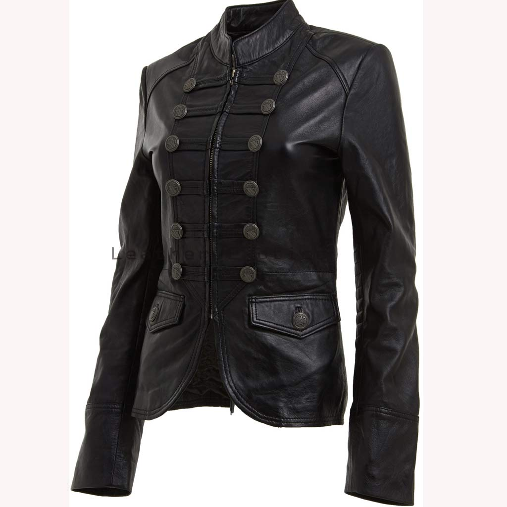 Online Women Leather Military Jacket | Designer Leather Military ...