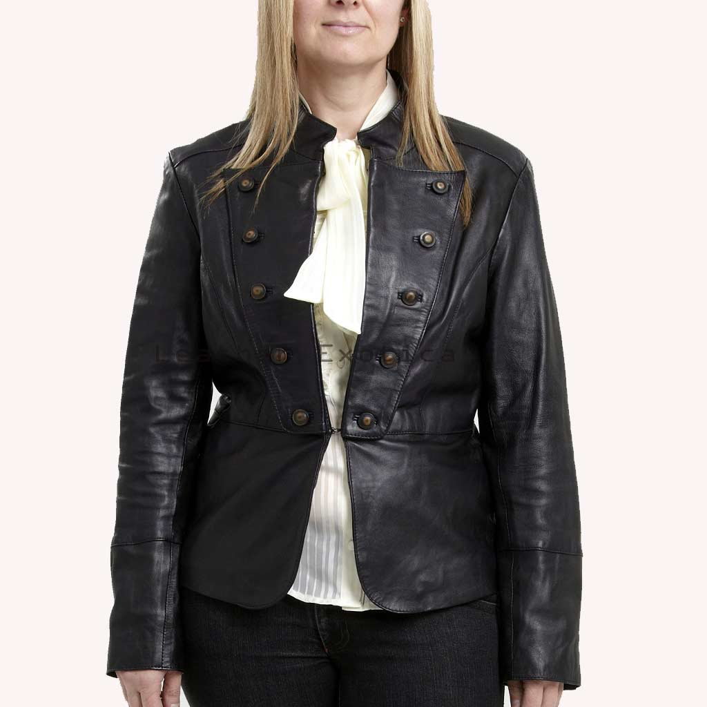 Online Women Leather Military Jacket | Plus Size Leather Military Jacket