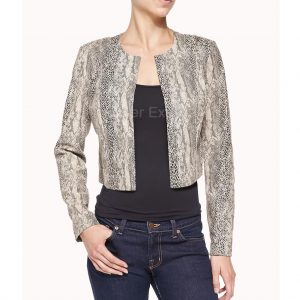 Snake Skin Print Leather Jacket