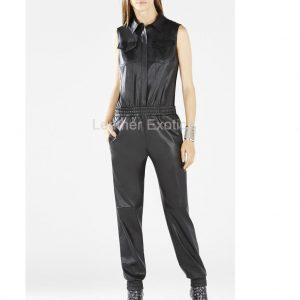 women leather jumpsuit