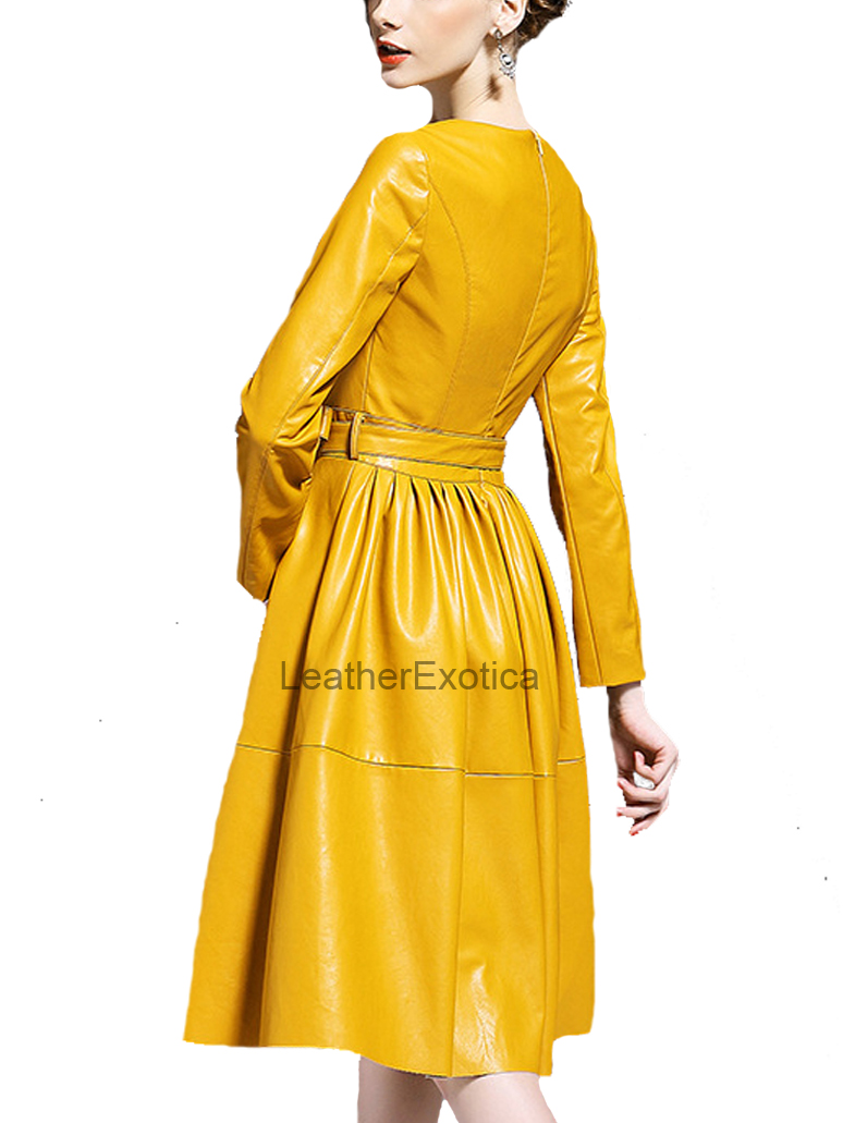 Yellow Tie Waist Lamb Leather Dress For Women Leatherexotica