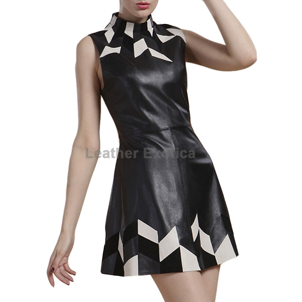 Stylish Leather Patchwork Tank Dress Leatherexotica