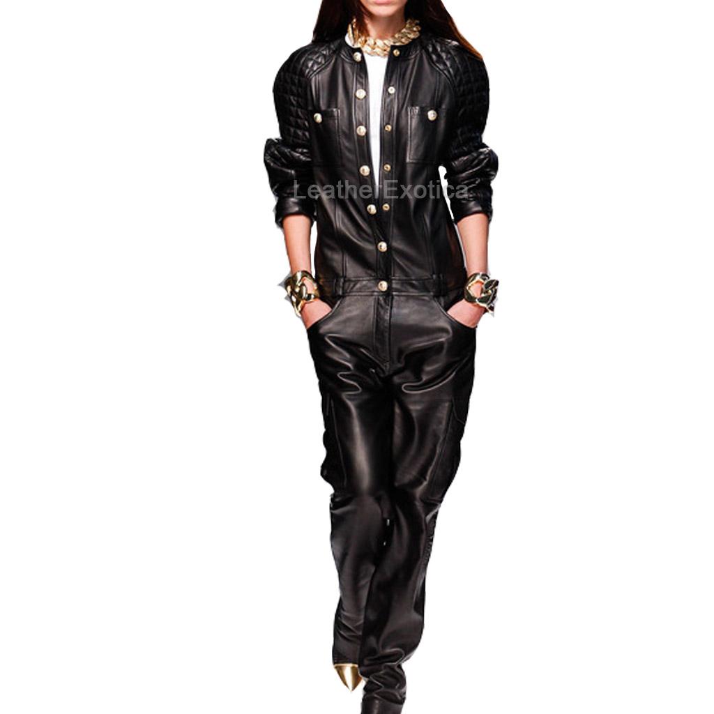 Designer Leather Jumpsuit For Women