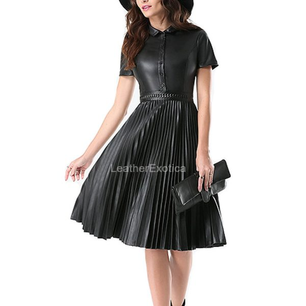 Accordion Pleats Leather Dress For Women