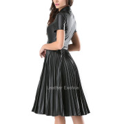Accordion Pleats Leather Dress For Women back