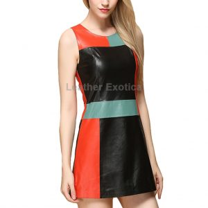 A-line Sleeveless Leather Dress