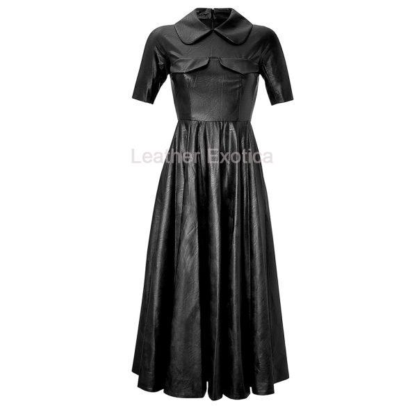 3406cb3b759 Stylish Women Long Leather Dress - Leatherexotica