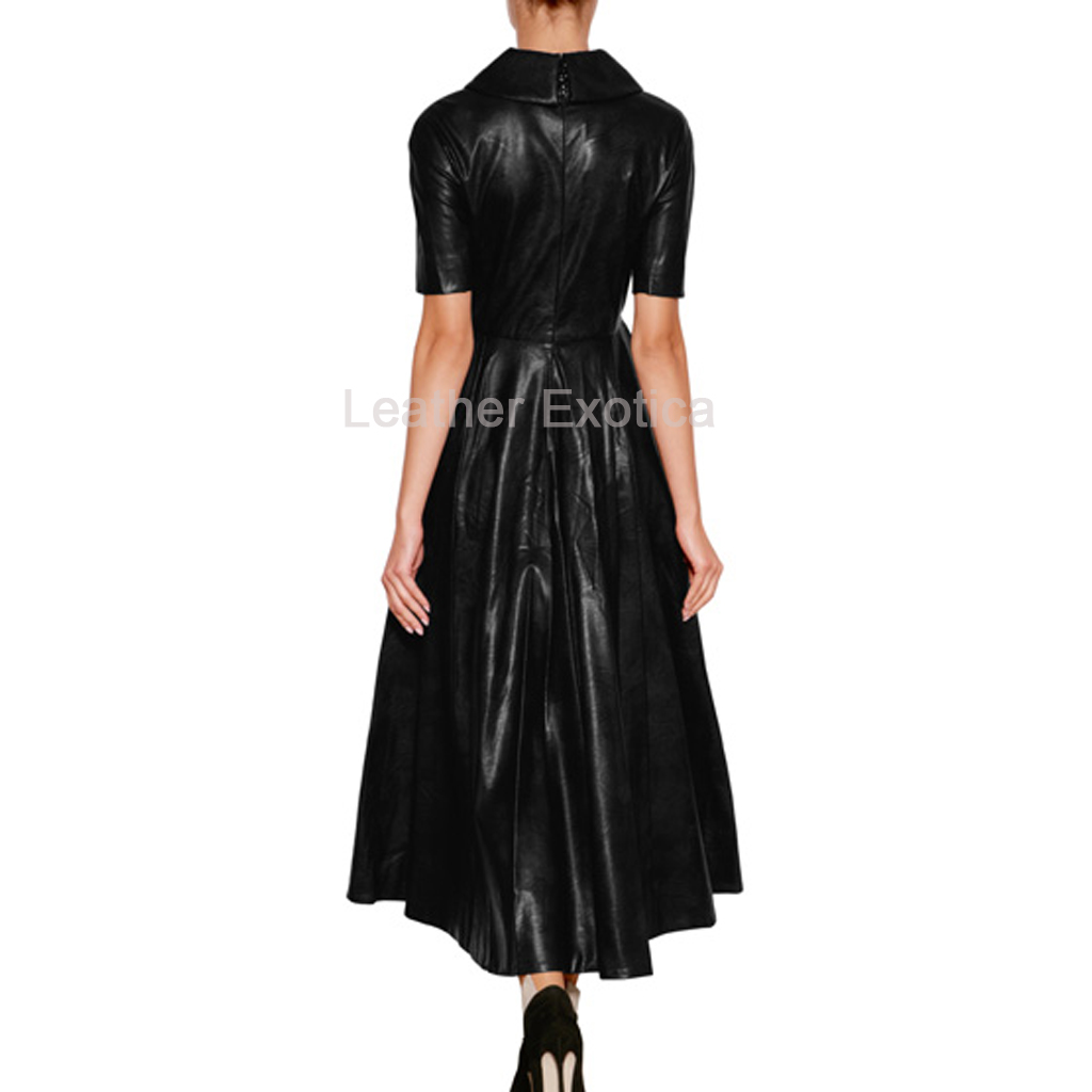 Stylish Women Long Leather Dress - Leatherexotica