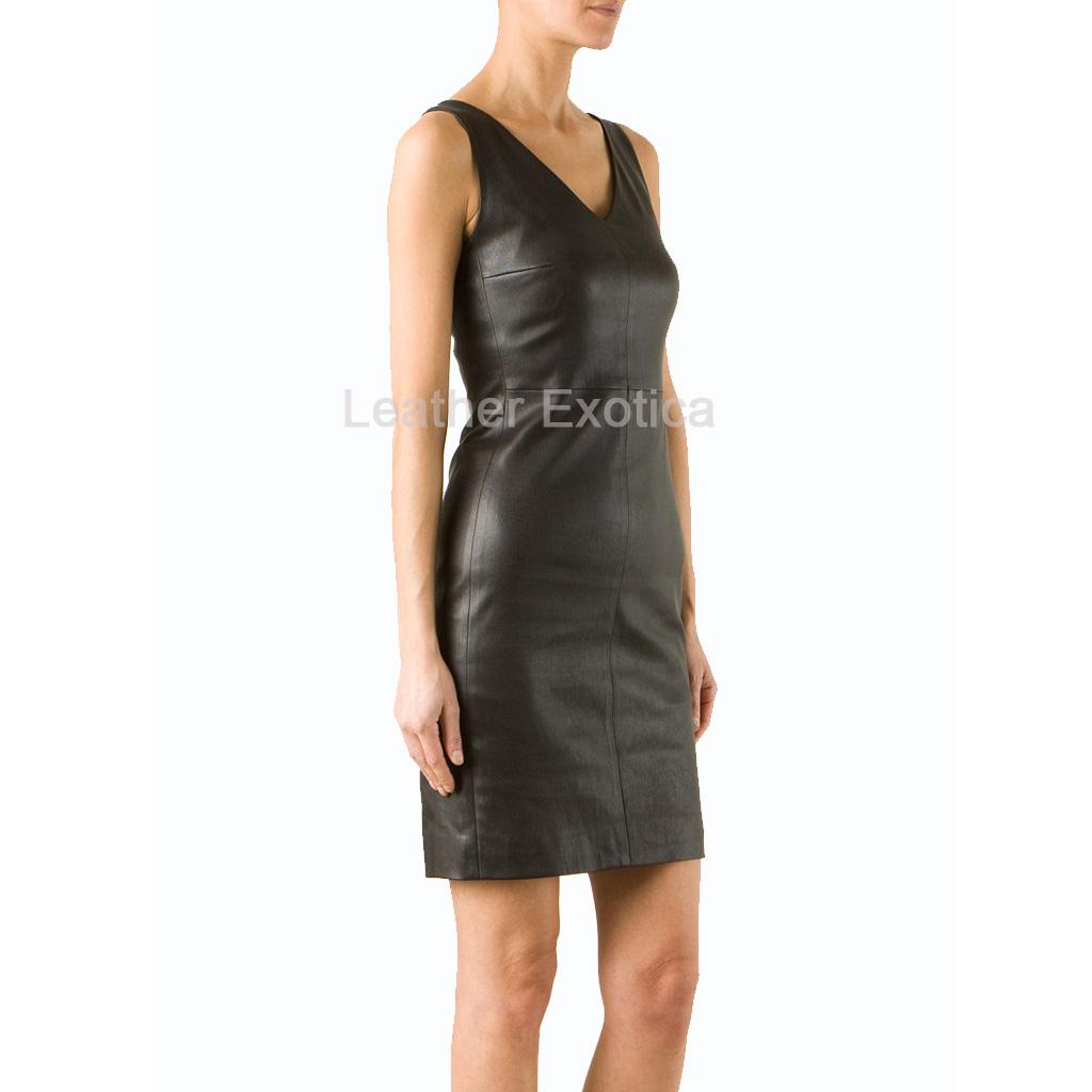 Sleeveless Women Elegant Leather Dress Leatherexotica