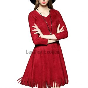 Suede- V-Neck-Red -Dress