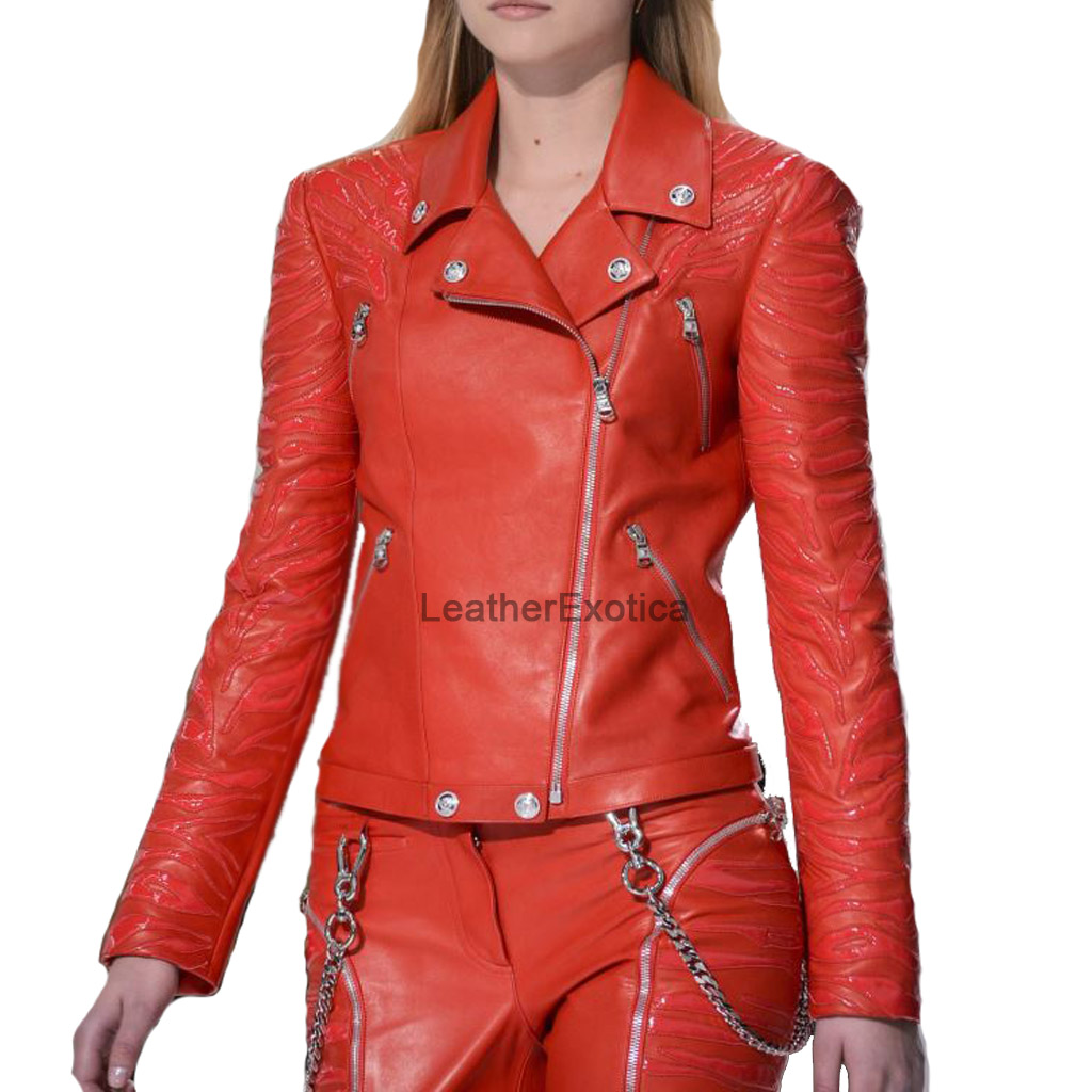 Designer Style Celebrity Women Leather Jacket Leatherexotica