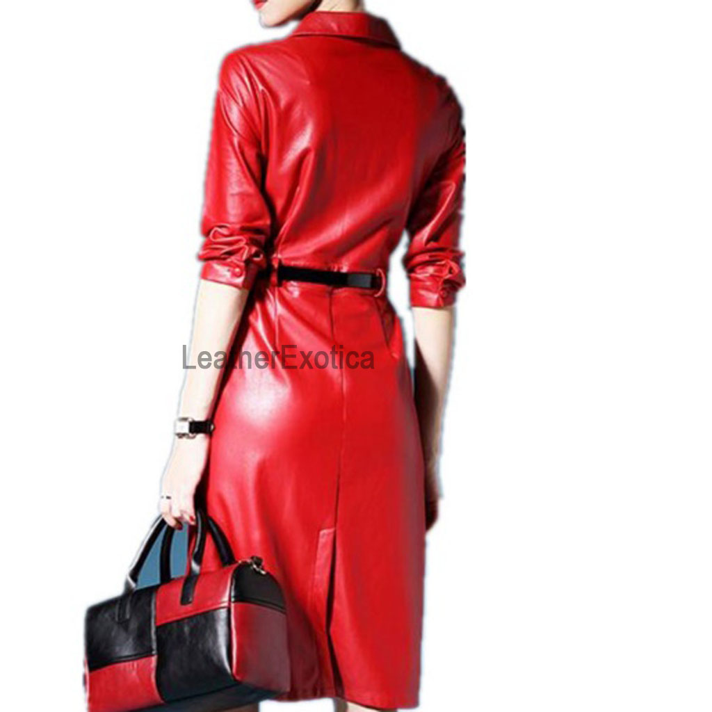 corporate red leather shirt dress for women ForRed Leather Shirt For Womens