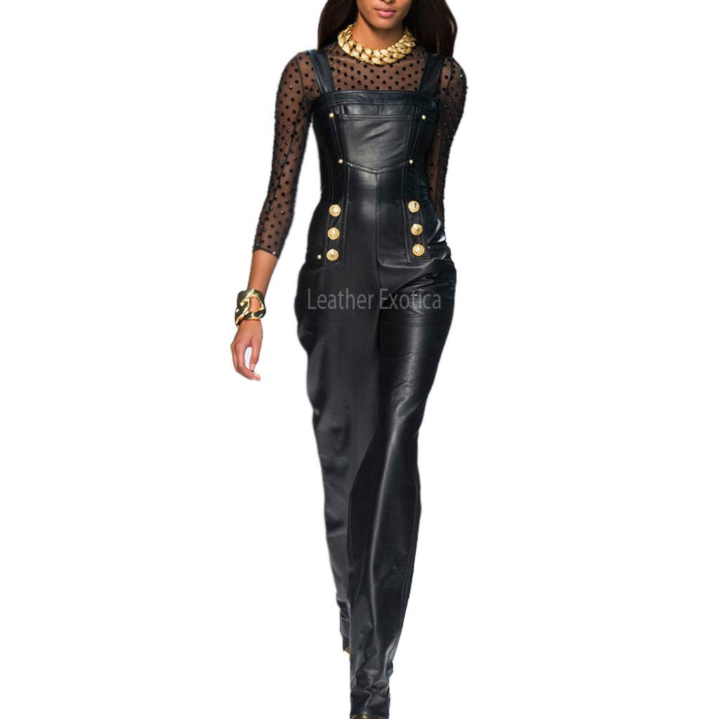 Strap Style Designer Women Leather Jumpsuit