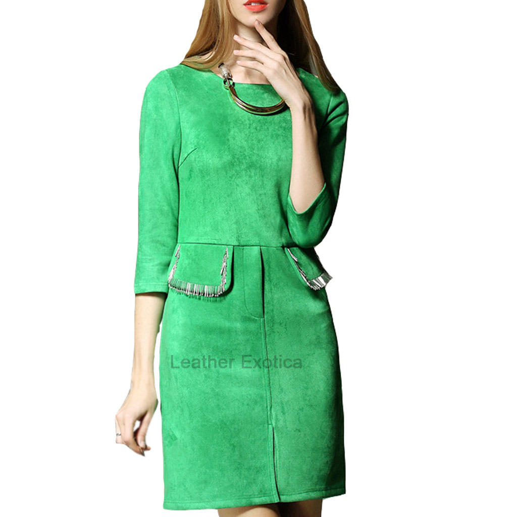 Boat Neck Suede Leather Dress For Women