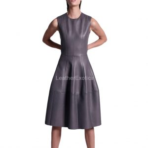 Round Neck Flared Bottom Leather Dress