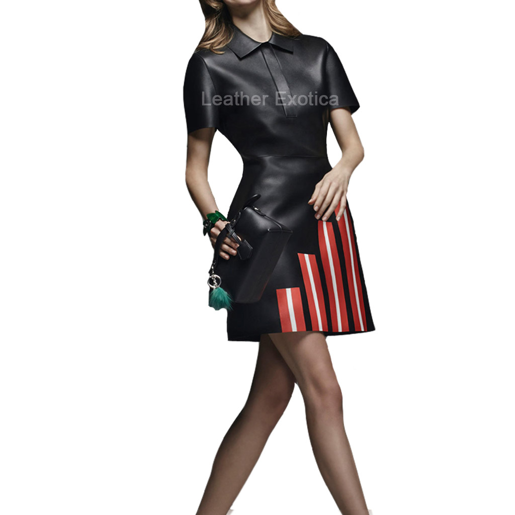 Contrast Stripes Shirt Style Leather Dress For Women Sale