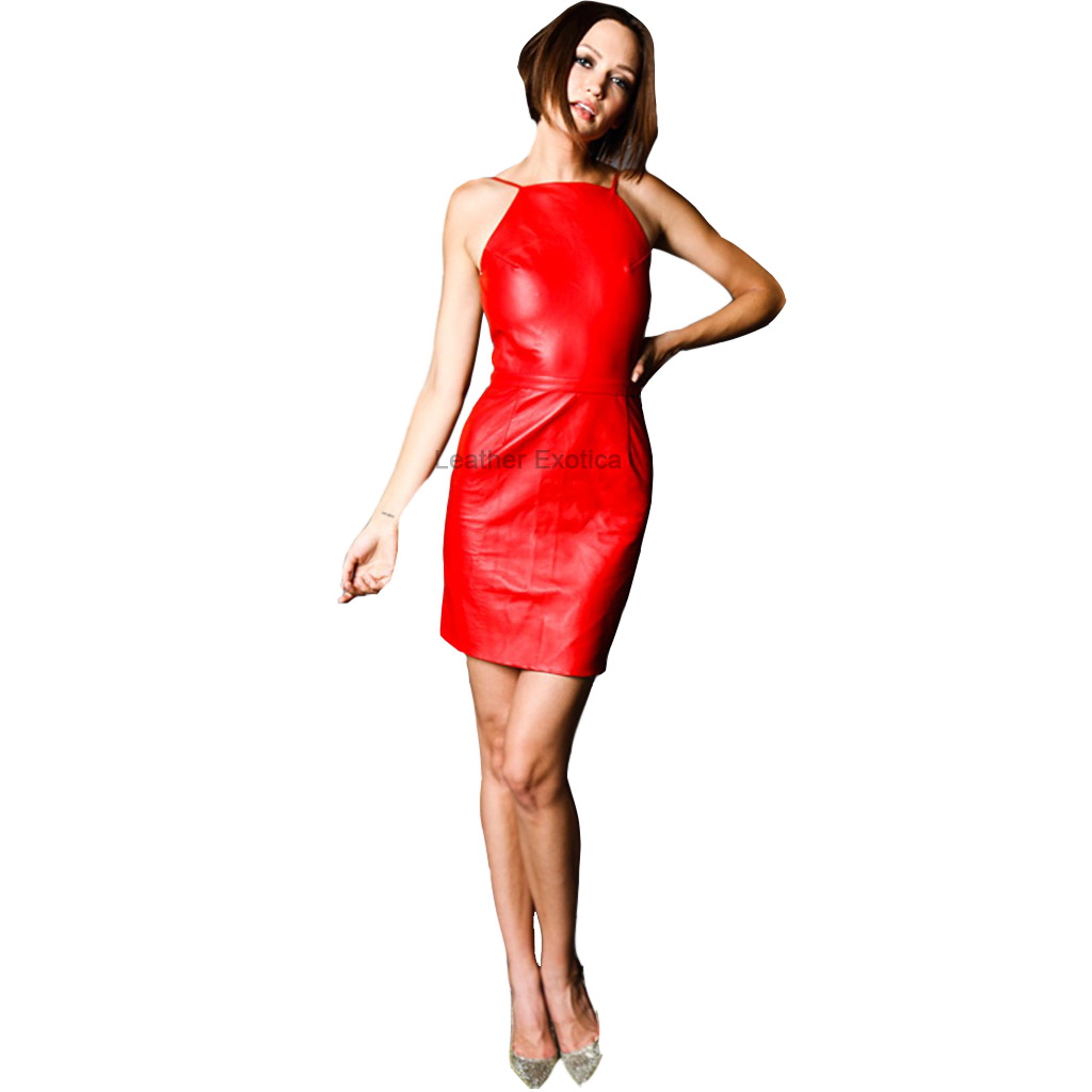 Backless Hot Red Spaghetti Strap Leather Dress