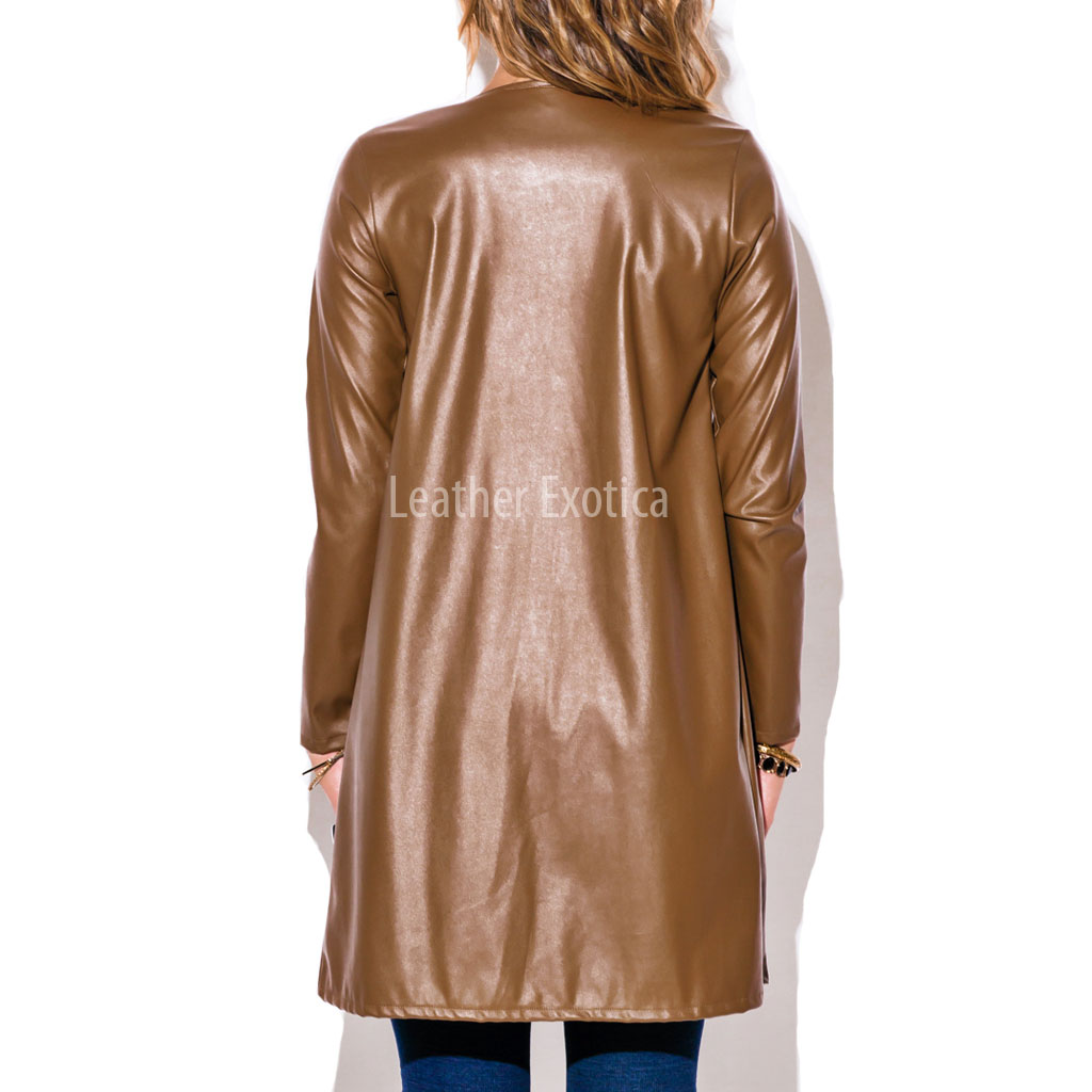 Long brown leather jacket