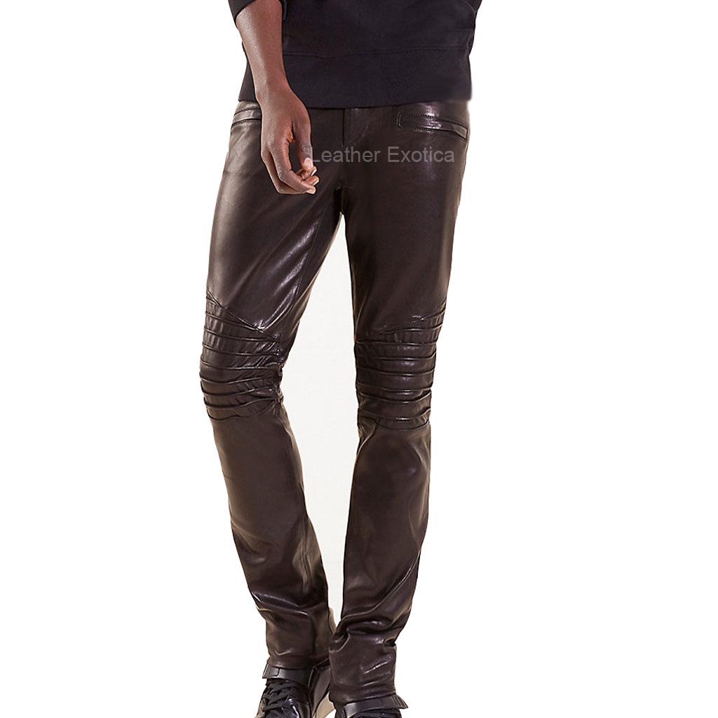 Straight Leg Men Biker Leather Pants Leatherexotica