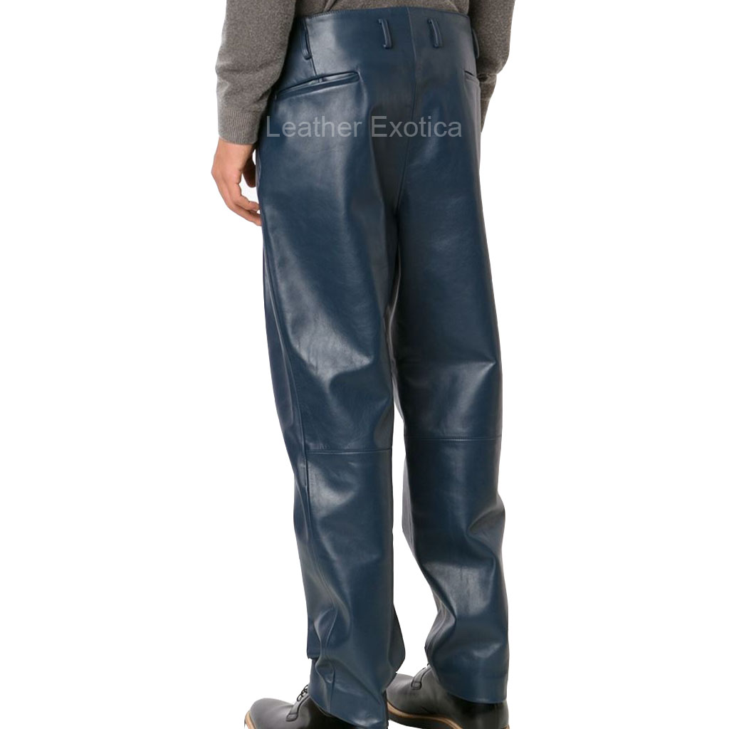 Navy Blue Pleated Details Men Leather Pants